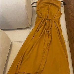 Longline boyfriend Vest with splits, Mustard